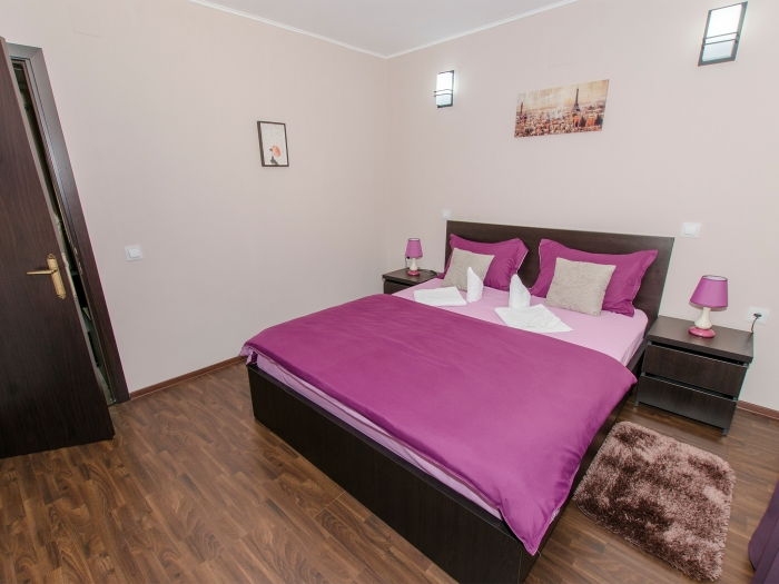 Double bed in the second room of the ground floor family suite