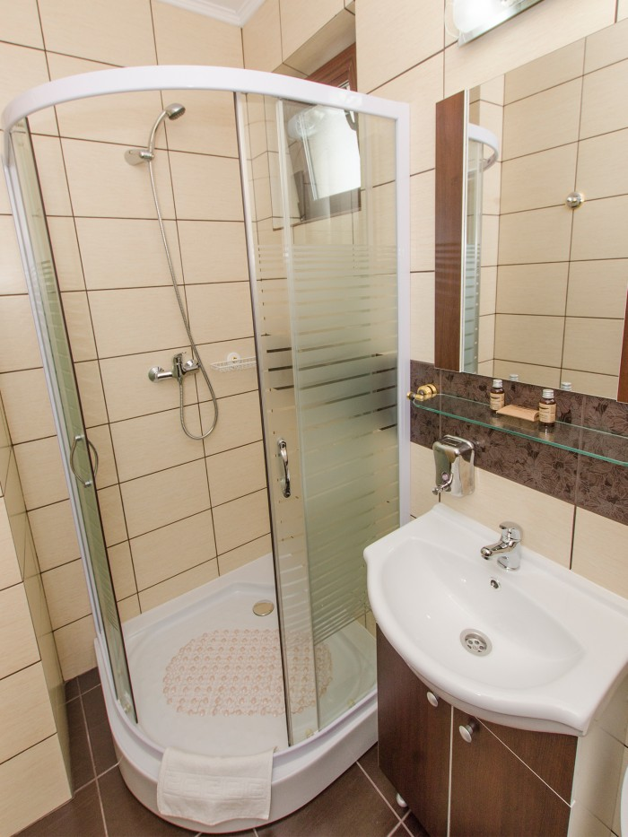 Private bathroom shower in the large balcony double room