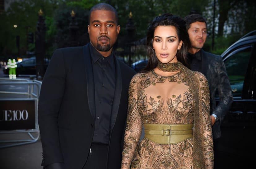 Kanye West with Kim Kardashian at Paris Fashion Week.