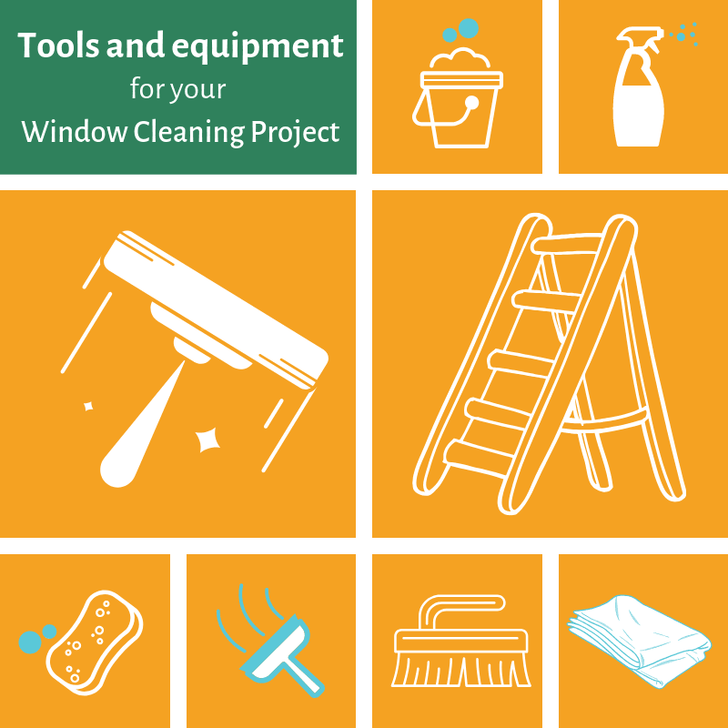 Tools and equipment for window cleaning projects