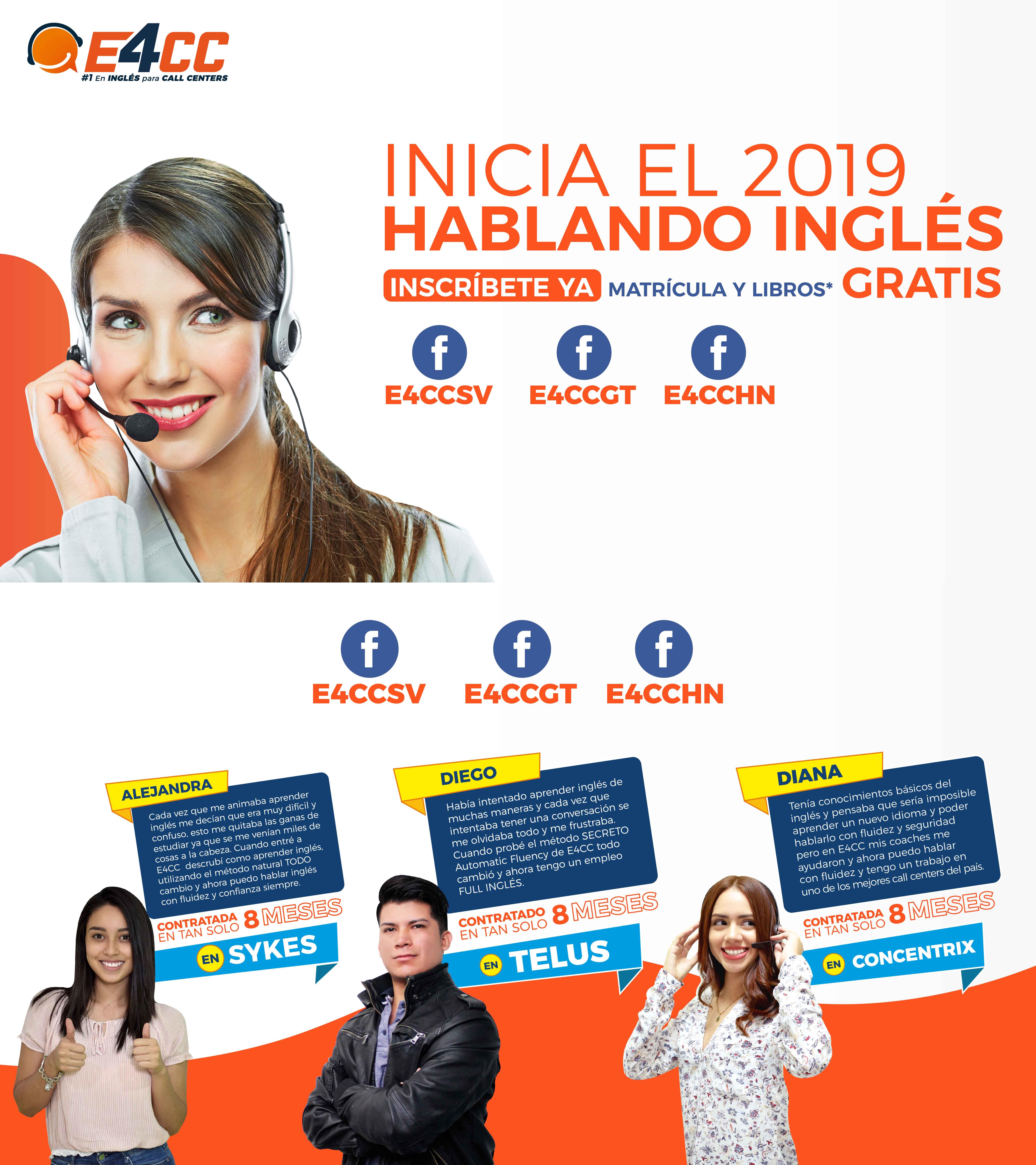 comienza el 2019 hablando ingles en el salvador, Guatemala, Honduras
