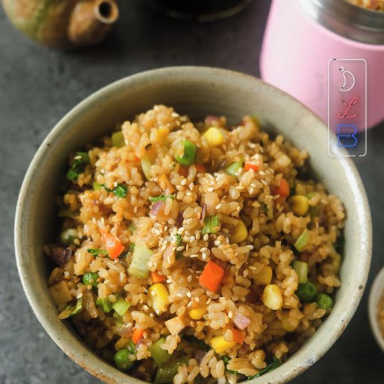 This is no ordinary fried rice. This is Jeeca's Vegetable Teriyaki Fried Rice, complete with a super-sticky homemade teriyaki