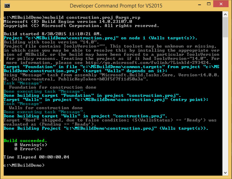 MSBuild Response File