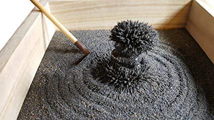 miniature Zen garden with magnetic sand