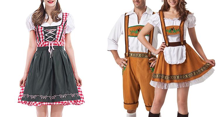 dirndl bavarian costume lady couple