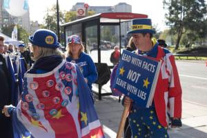 Zwei Briten demonstrieren gegen Brexit.