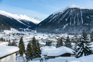 View of Davos and surrounding mountains