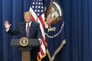 President Donald J. Trump addresses his remarks at the Summit on Transforming Mental Health Treatment