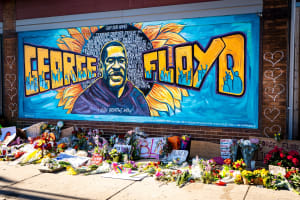 beautiful graffiti mural honoring george floyd from black lives matter protest