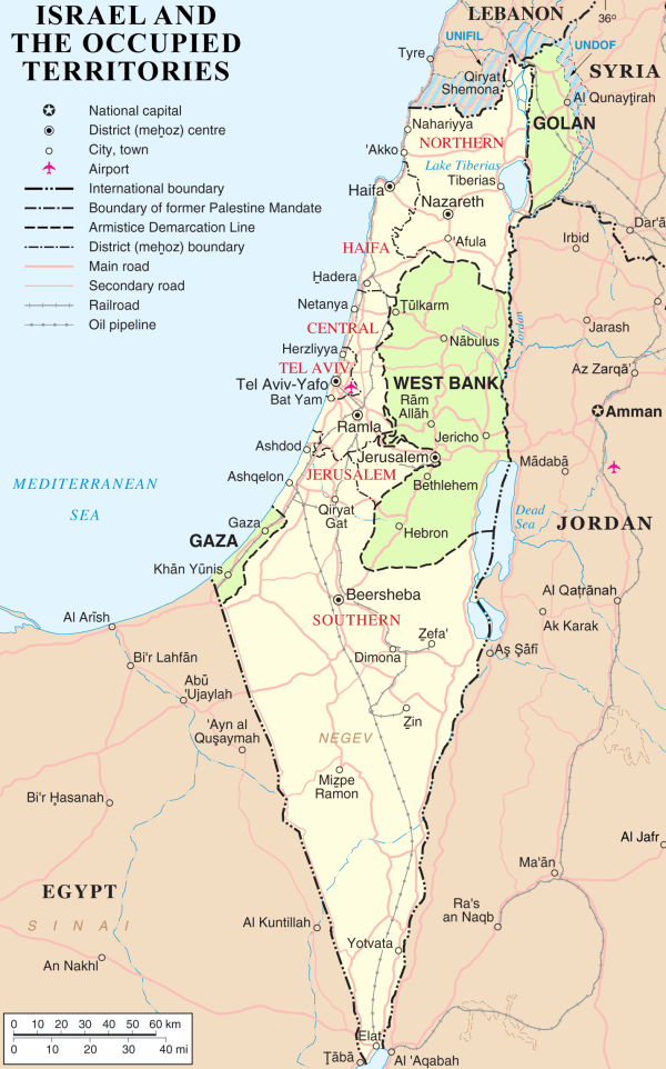 Map of Israel, the Palestinian territories (West Bank and Gaza Strip), the Golan Heights, and portions of neighbouring countries. Also former United Nations deployment areas in countries adjoining Israel or Israeli-held territory, as of February 2018 - Via Wikimedia Commons