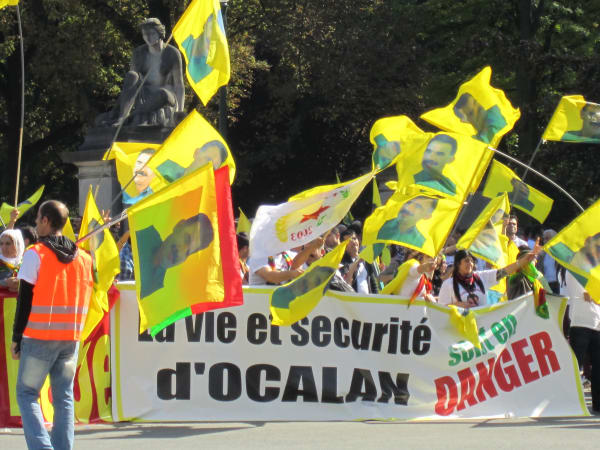 Kurdish protest in Brussels, in support of imprisoned leader Abdullah Ocalan