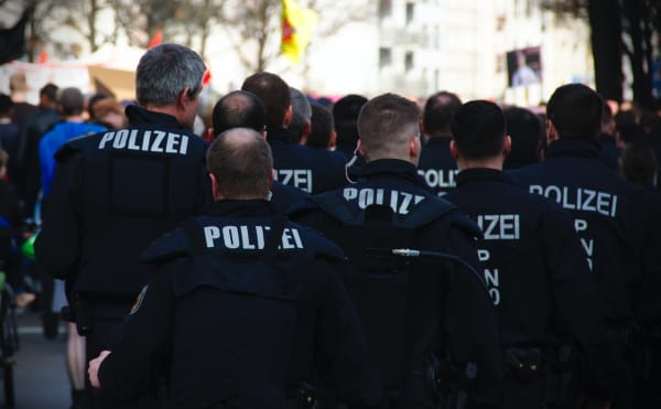 A group of riot police waiting