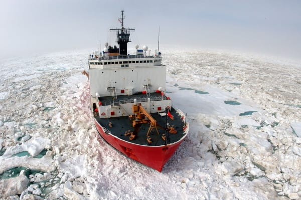 The U.S. Coast Guard Cutter Healy a 420 ft. icebreaker homeported in Seattle, Wash., breaks ice in support of scientific research in the Arctic Ocean