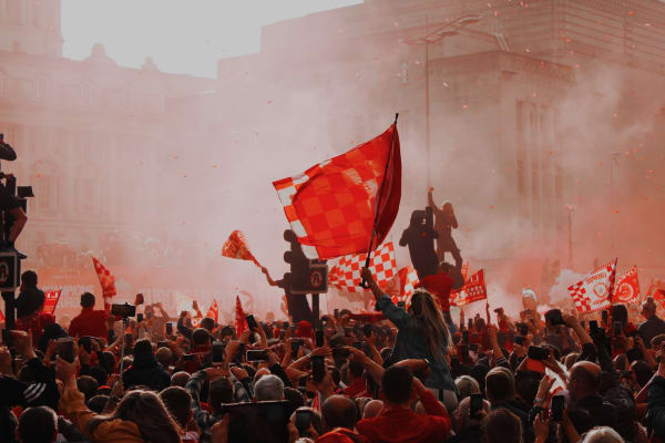 Supporters from Liverpool FC in the streets celebrating their club