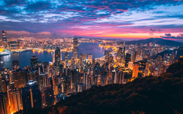 Hong Kong's skyline at night from Victoria Peak