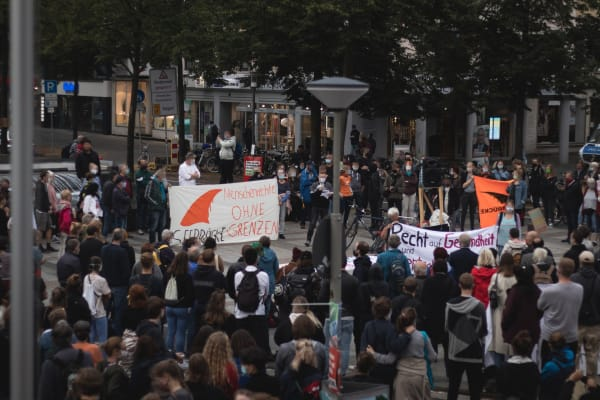 Demonstration on the 9th of September in Bielefeld, Germany, regarding the fires in the refugee camp Moria in Lesbos, Greece