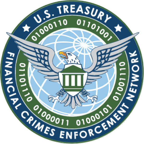 Insignia of the US Financial Crimes Enforcement Network (FinCEN) featuring globe, eagle, shield, and silhouette of a bank, as well as binary digits