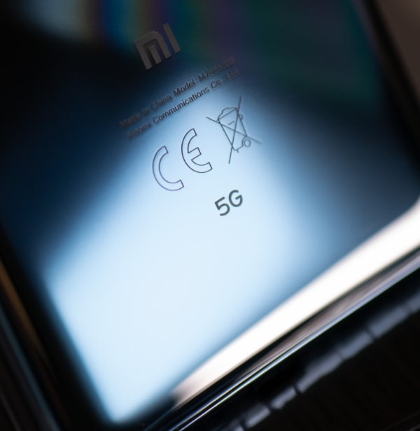 Back of cellphone with 5G moniker
