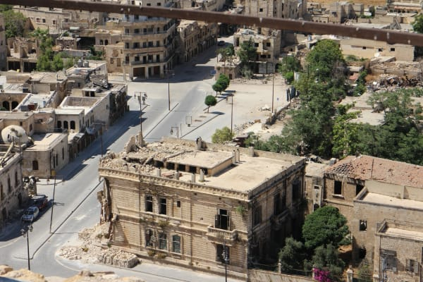 Buildings in Aleppo damaged by the ongoing conflict