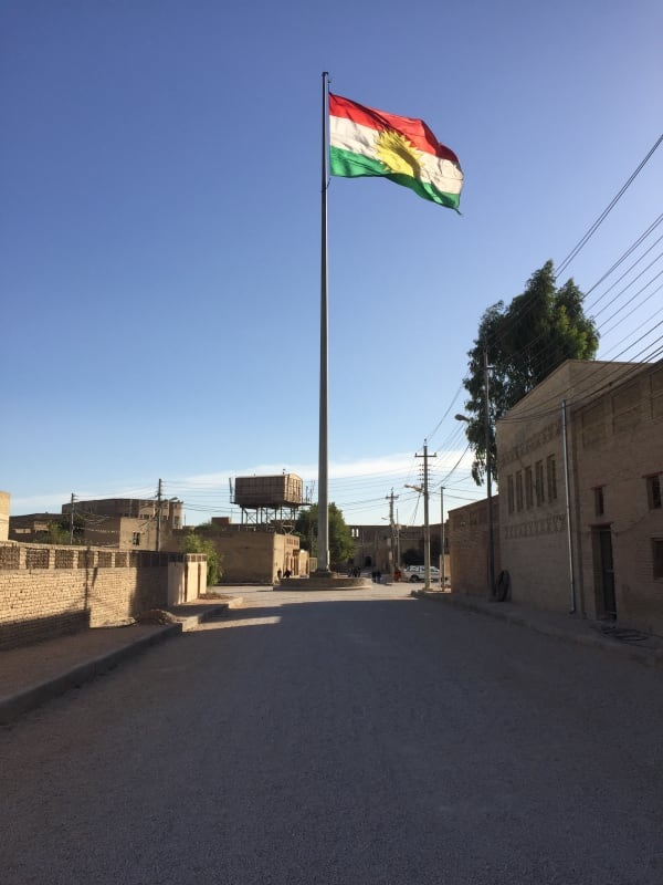 Kurdistan flag flying in Erbil, Iraq