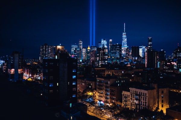 The World Trade Center tribute in light ties in with the New York skyline