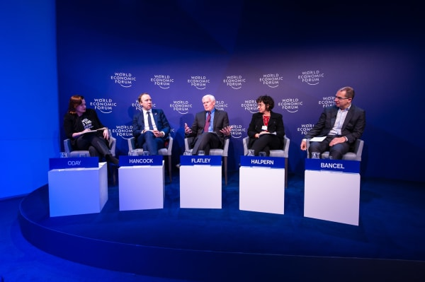 A panel discussion at the World Economic Forum
