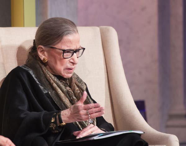 U. S. Supreme Court Justice Ruth Bader Ginsburg and LBJ Foundation President and CEO Mark K. Updegrove discuss the justice's trailblazing career at the Library of Congress in Washington, D.C., on Jan. 30, 2020.
