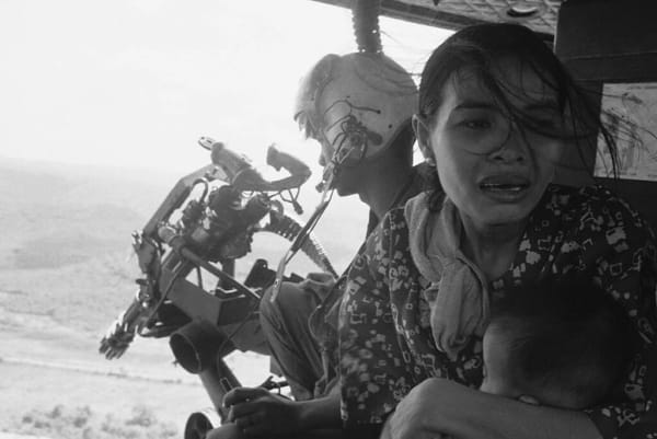 FALL OF SAIGON - TUY HOA March 22, 1975 - Refugees Fleeing Helicopter