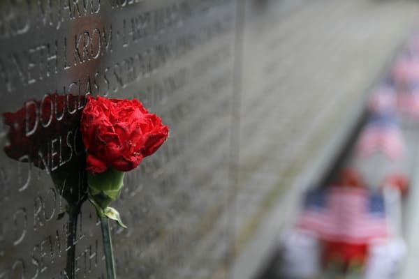 A single rose leans against the Vietnam memorial in Washington, D.C.