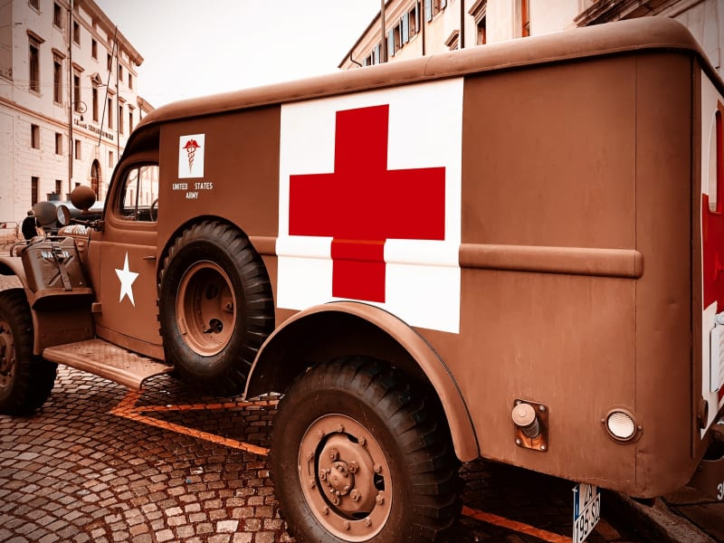 A US Amry ambulance from WWII bearing the red cross symbol
