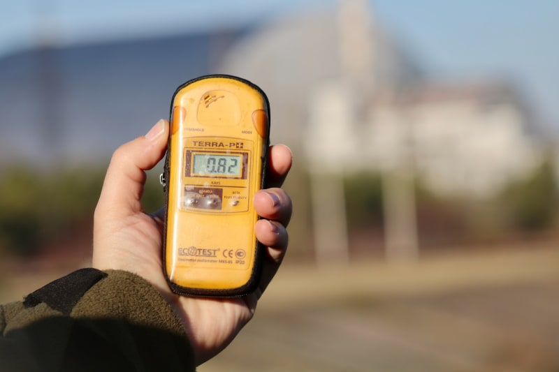 Geiger counter measuring radiation levels in the area of Chernobyl