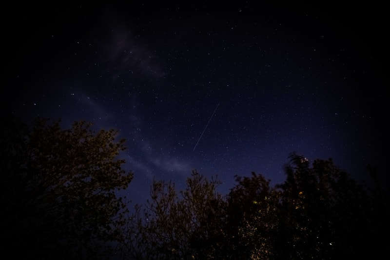 A Starlink satellite passing through the night sky