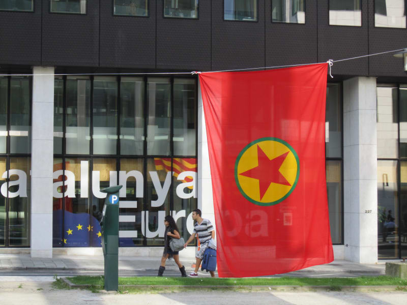 Kurdistan Workers Party flag flying in Brussels