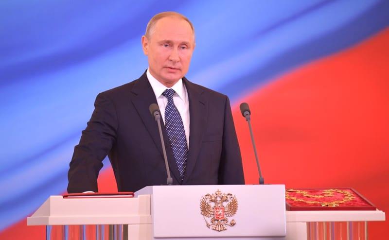 Vladimir Putin bei seiner Verbindung als Russlands Präsident.