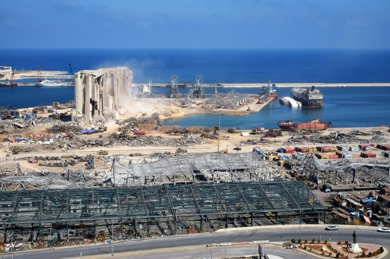 Port of Beirut Explosion. photo taken days after the explosion from an adjacent building