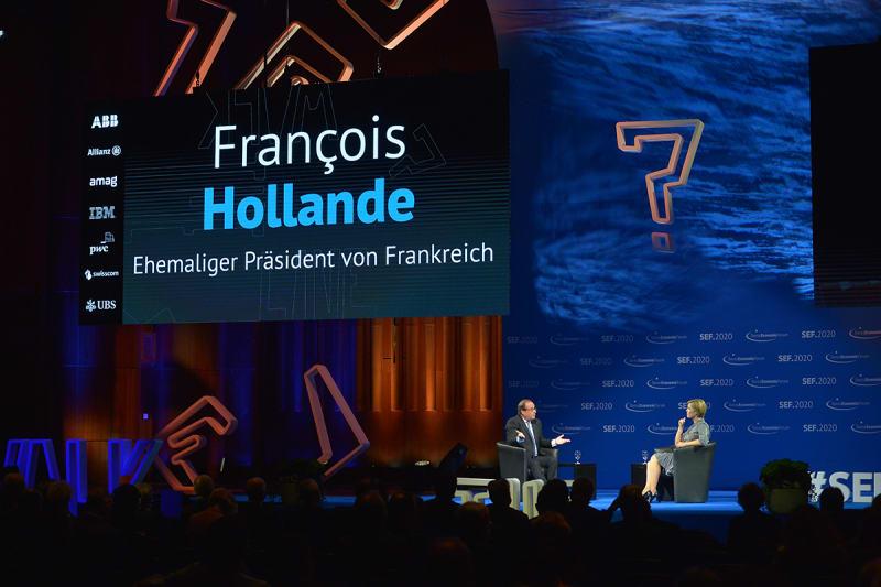 Ehemaliger Präsident Frankreichs François Hollande spricht am SEF 2020