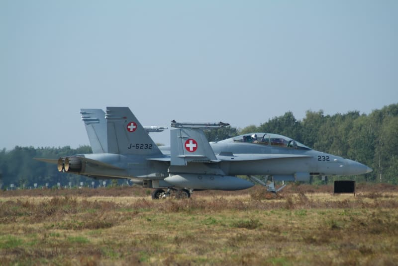 A McDonnell-Douglas FA-18D Hornet of the Swiss Air Force