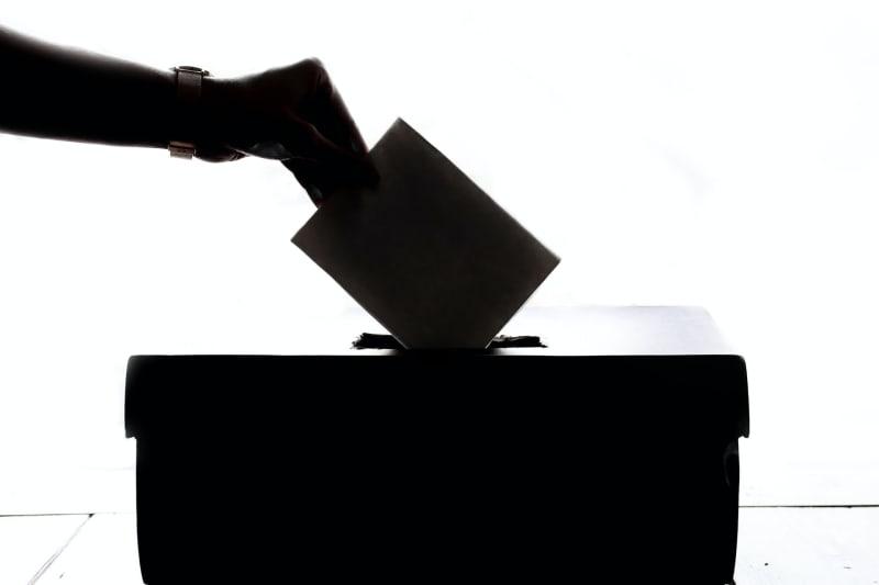 Eine Person wirft ihren Stimmzettel in die Box