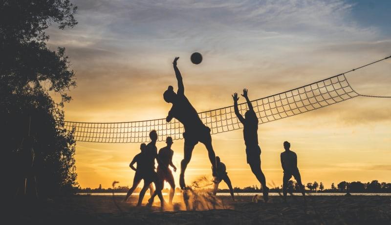 Freunde spielen Volleyball. Sie machen Sport.