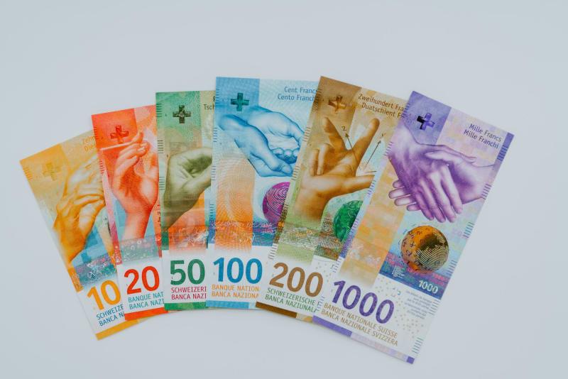 Das Bild zeigt die Schweizer Banknoten