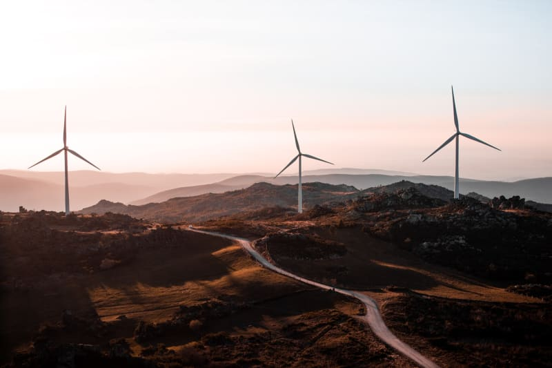 Das Bild zeigt Windenergieanlagen