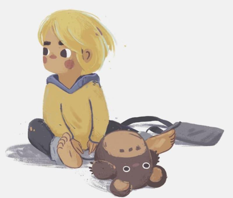 Karikatur eines kleinen Jungen und seinem Plüschtier