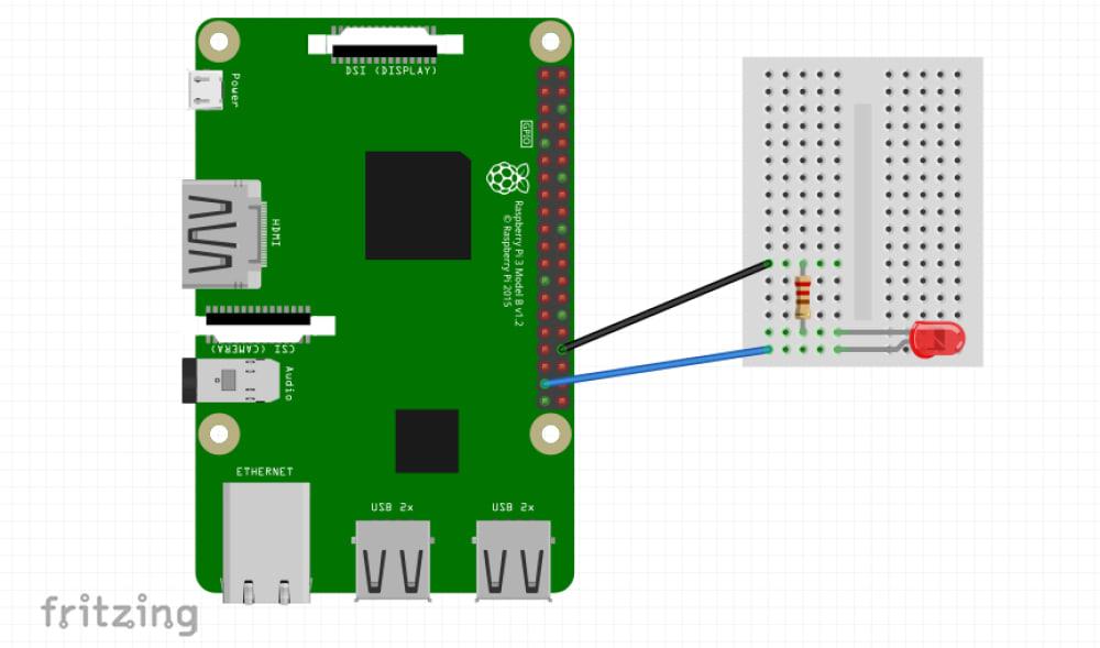 LEDの点滅回路の配線図