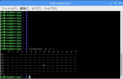 i2cdetect実行例