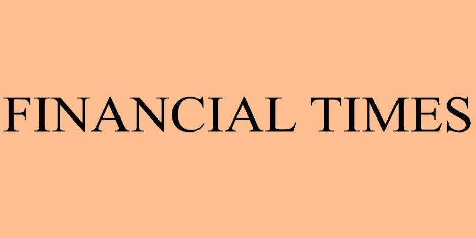 Financial Times schwarze Schrift auf Orangen Hintergrund