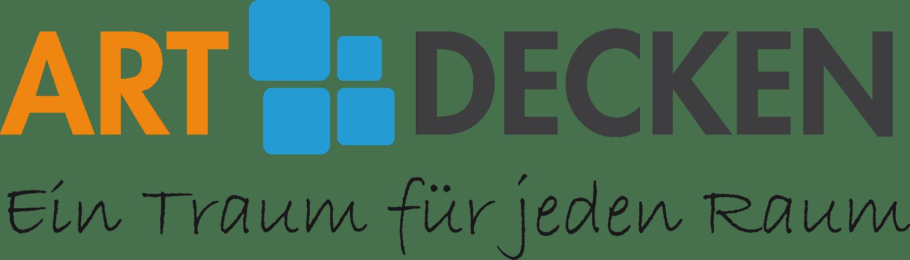 Logo ArtDecken Schrift mit Ein Traum für jeden Raum Farben Orange, Blau, Schwarz
