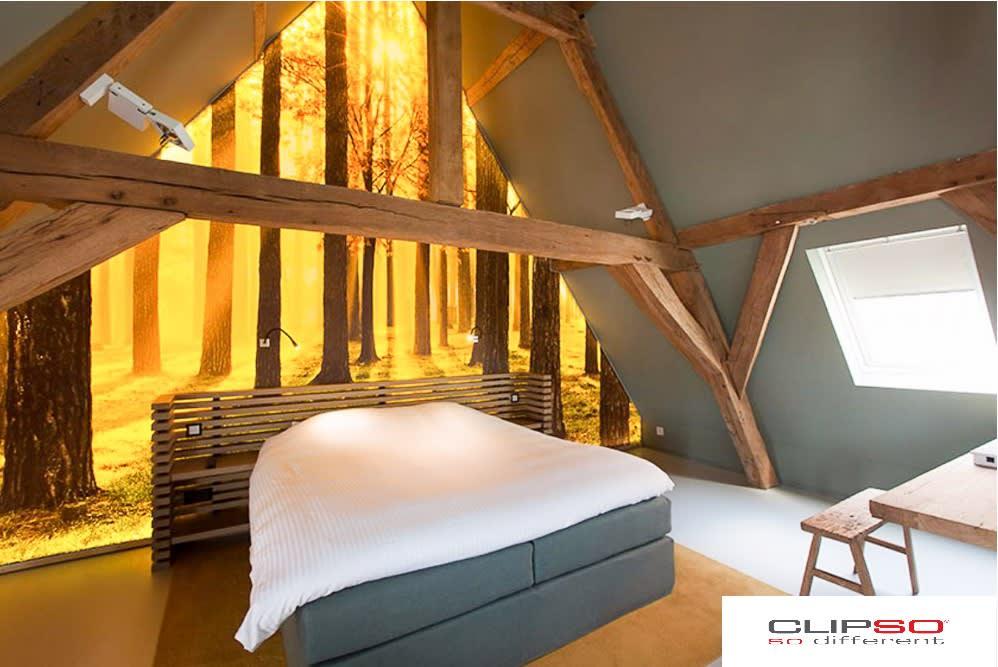 Wohnraum mit leuchtender Motivspanndecke mit Wald Motiv