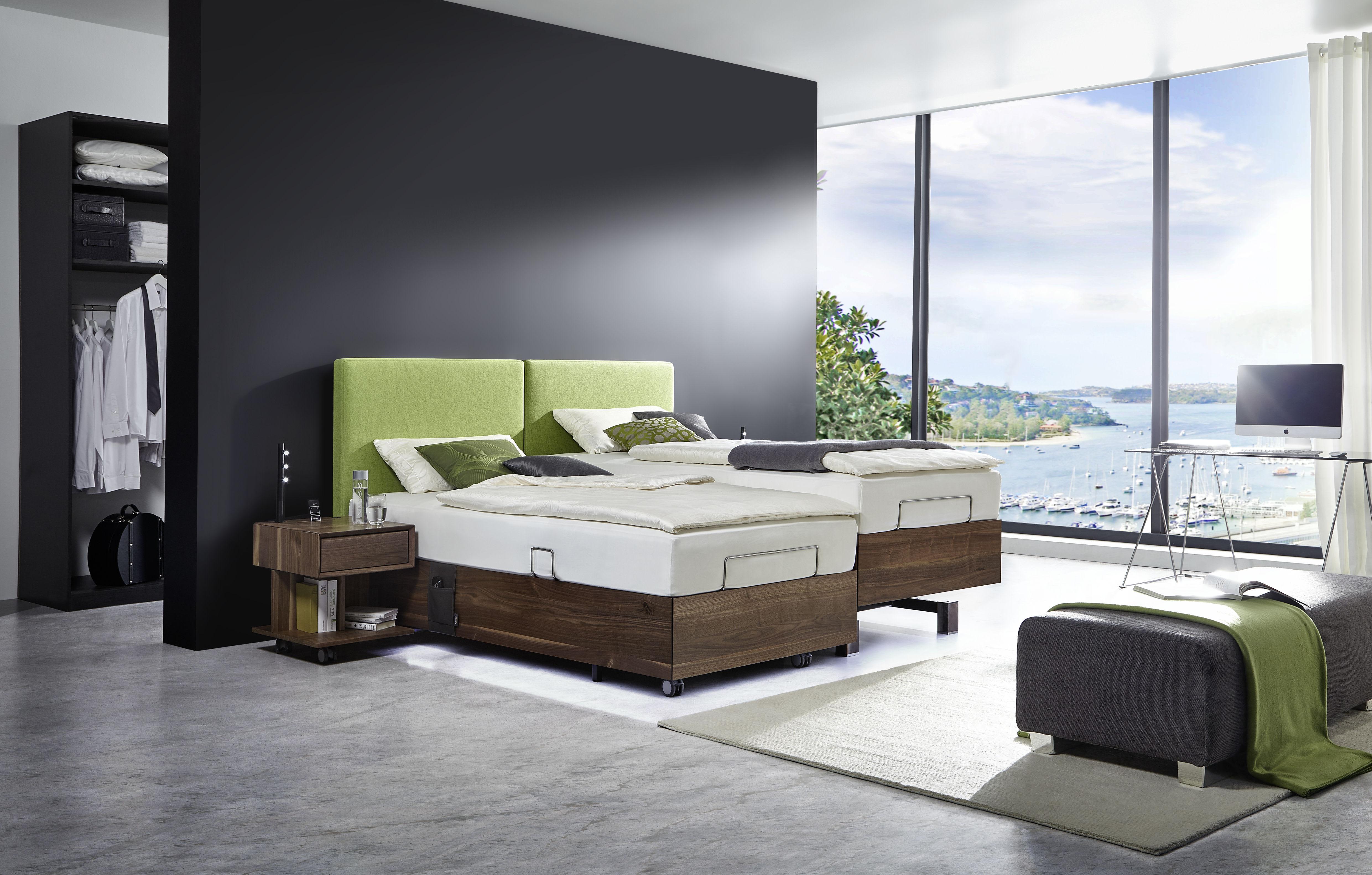Davos-Doppelbett Nußbaum_Kopfteil Loden grün