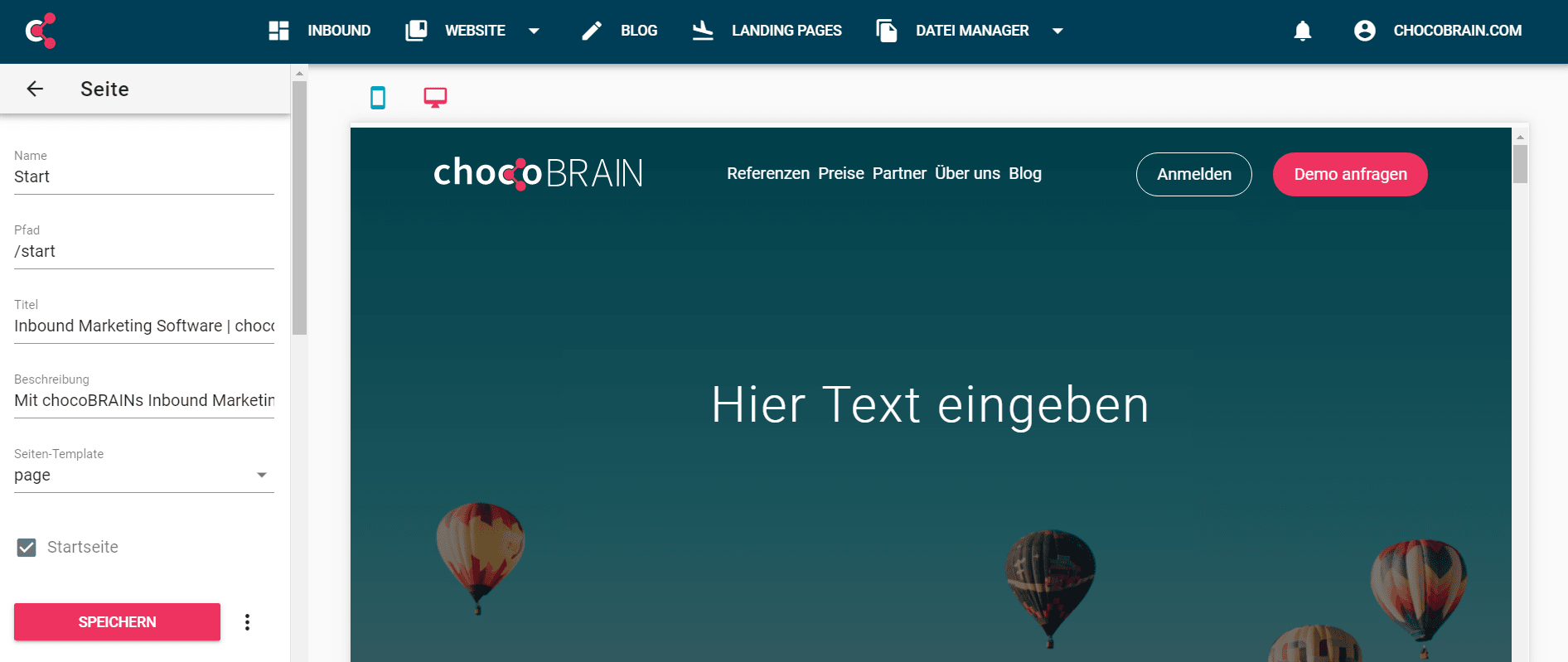 chocoBRAIN CMS Screenshot