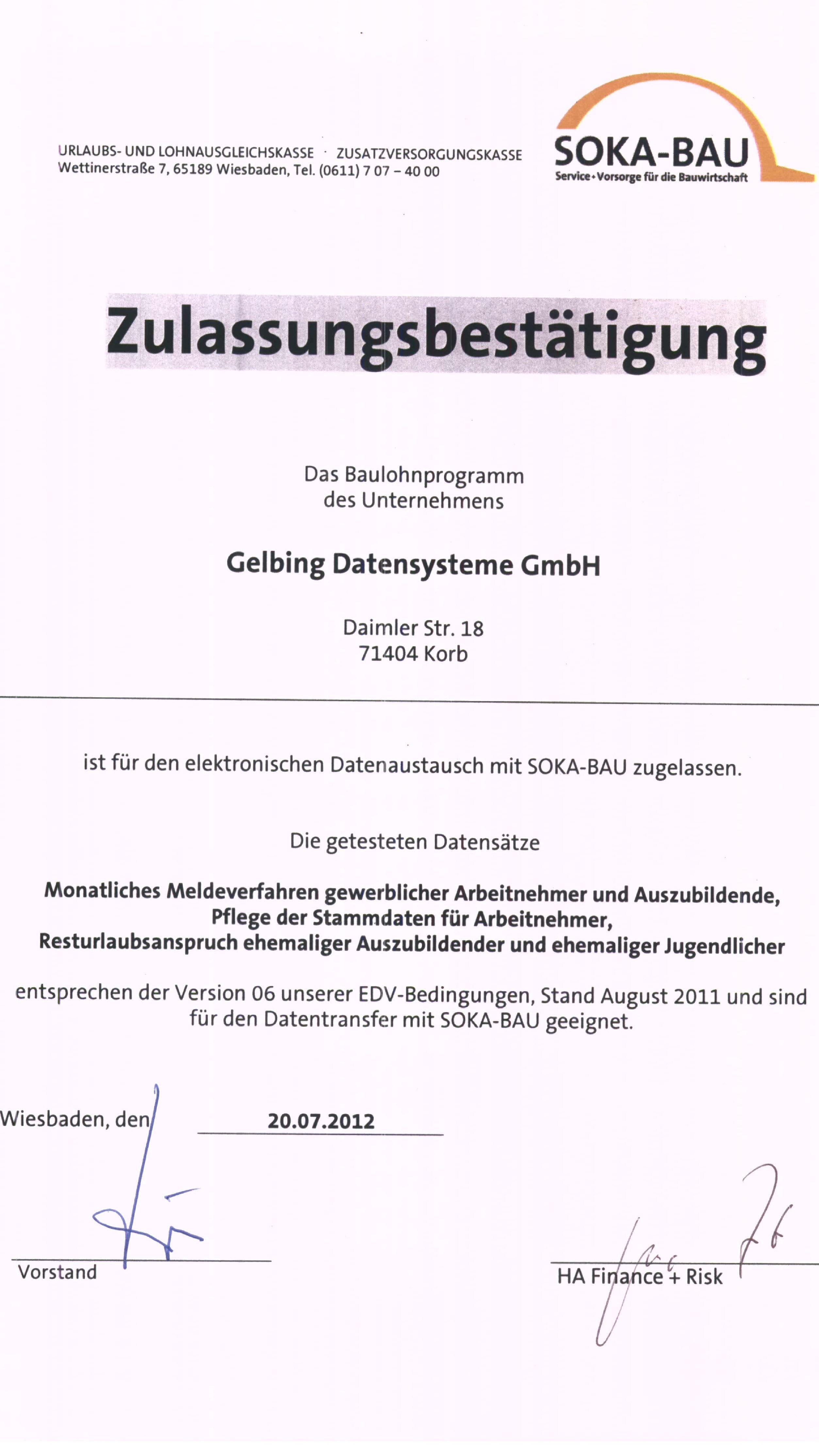 Soka-Bau Zulassung Gelbing